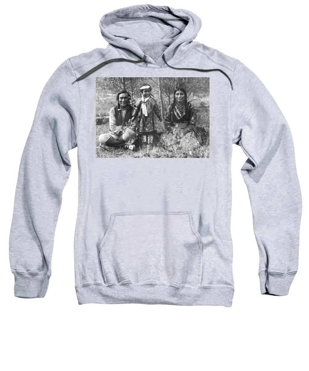 1907 Sweatshirt featuring the photograph Blackfoot Family, 1907 by Mary TS Schaffer