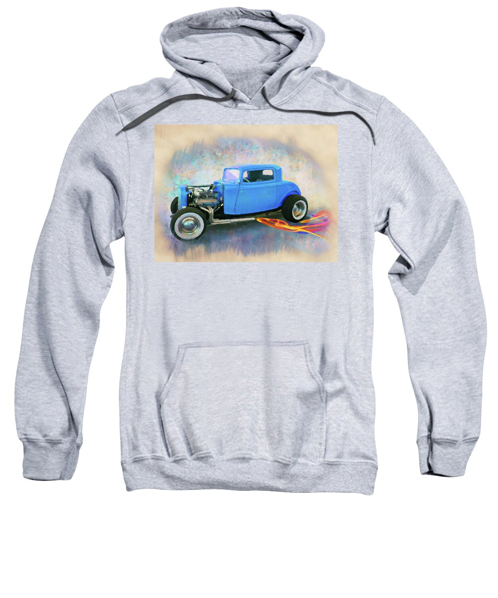 32 Ford Blue Sweatshirt featuring the digital art Blue 32 Ford Coupe by Rick Wicker