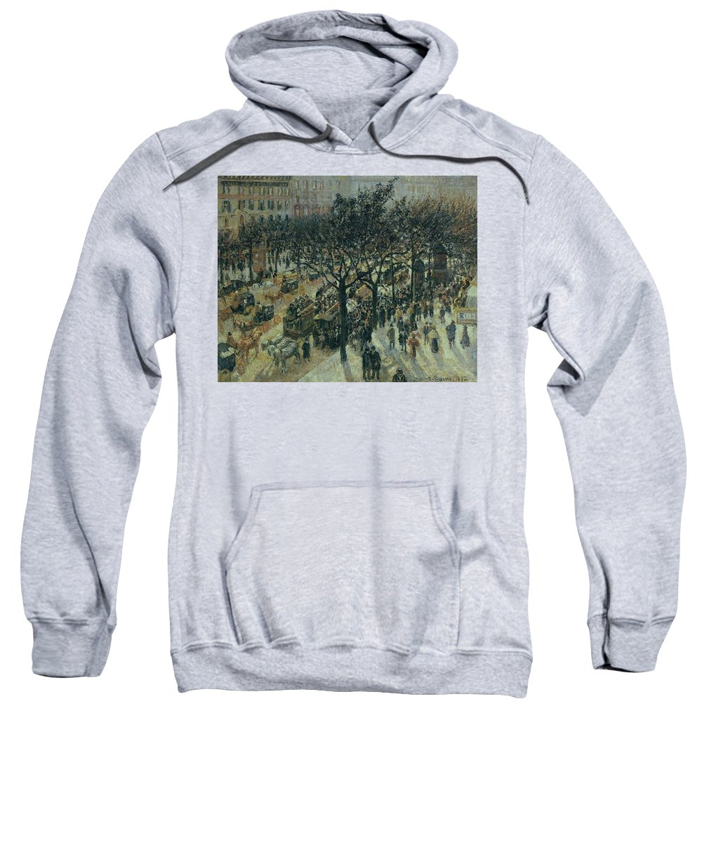 Camille Pissarro Sweatshirt featuring the painting Boulevard Des Italiens - Afternoon, 1987 by Camille Pissarro