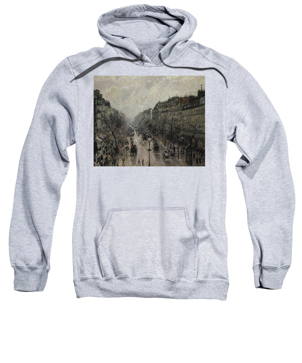 Camille Pissarro Sweatshirt featuring the painting Boulevard Montmartre - Foggy Morning, 1987 by Camille Pissarro