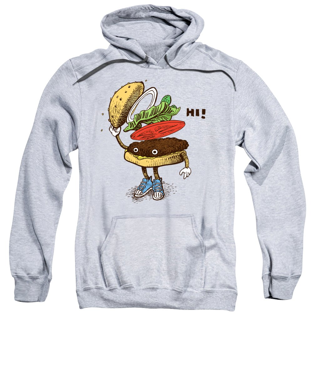 Burger Sweatshirt featuring the drawing Burger Greeting by Eric Fan