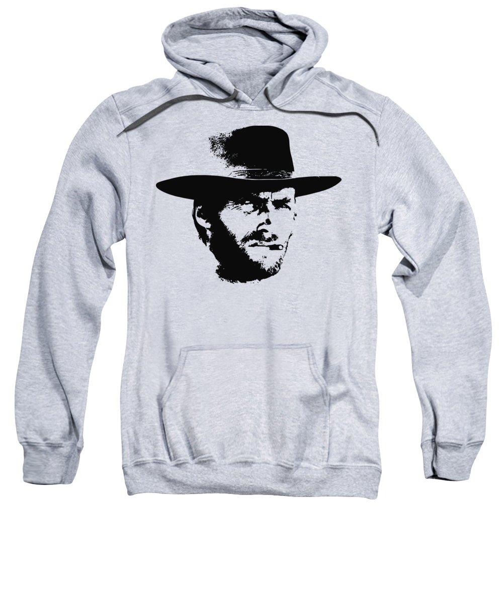 Clint Eastwood Sweatshirt featuring the digital art Clint Eastwood Minimalistic Pop Art by Filip Hellman