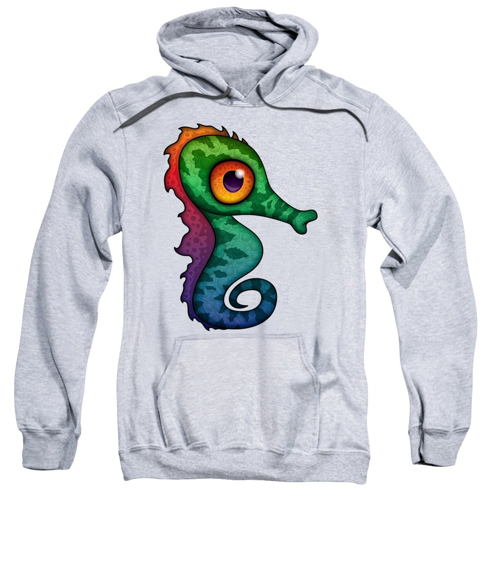 Sea Sweatshirt featuring the digital art Colorful Seahorse Cartoon by John Schwegel