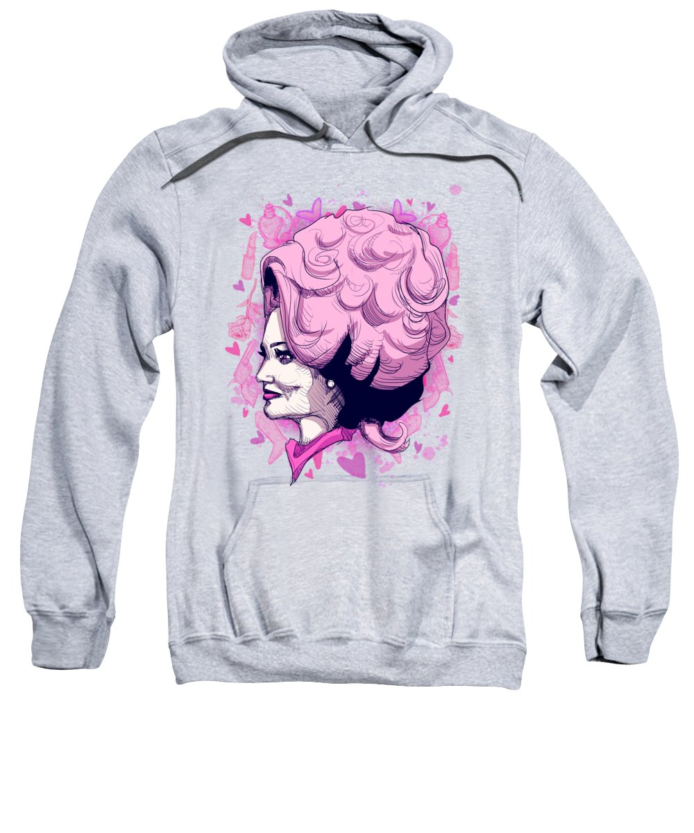 Parton Sweatshirt featuring the drawing Dolly P by Ludwig Van Bacon