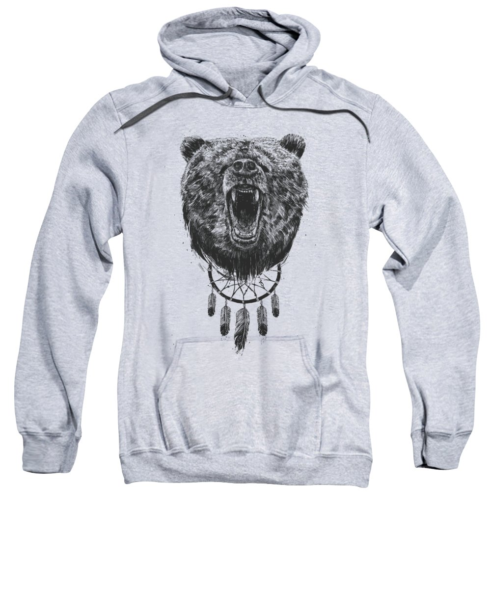 Bear Sweatshirt featuring the drawing Don't Wake The Bear by Balazs Solti
