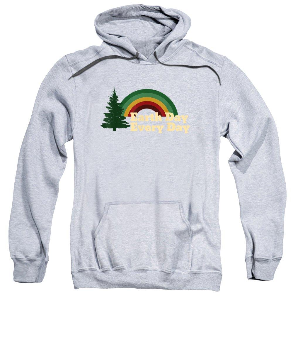 girls' Novelty Clothing Sweatshirt featuring the digital art Earth Day Everyday Rainbow Pine Tree Shirt by Do David