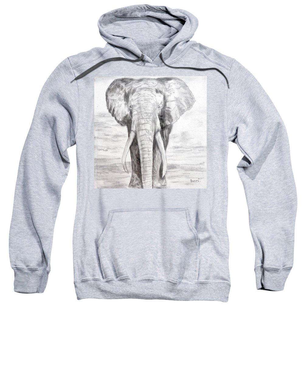 Elephant Sweatshirt featuring the painting Elephant by Dori Murakami