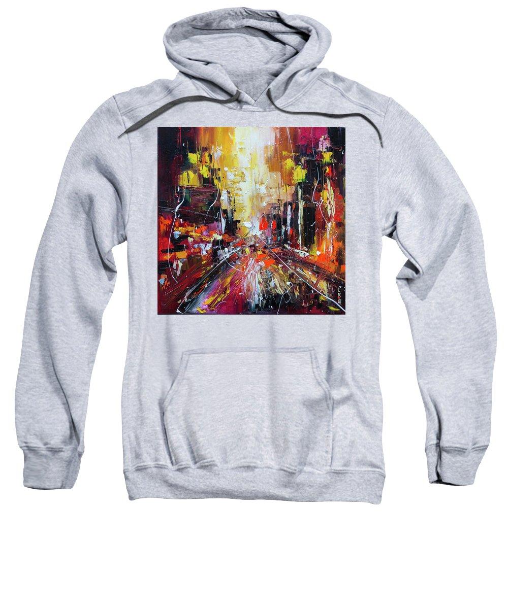 City Sweatshirt featuring the painting Evening Avenue by Liubov Kuptsova