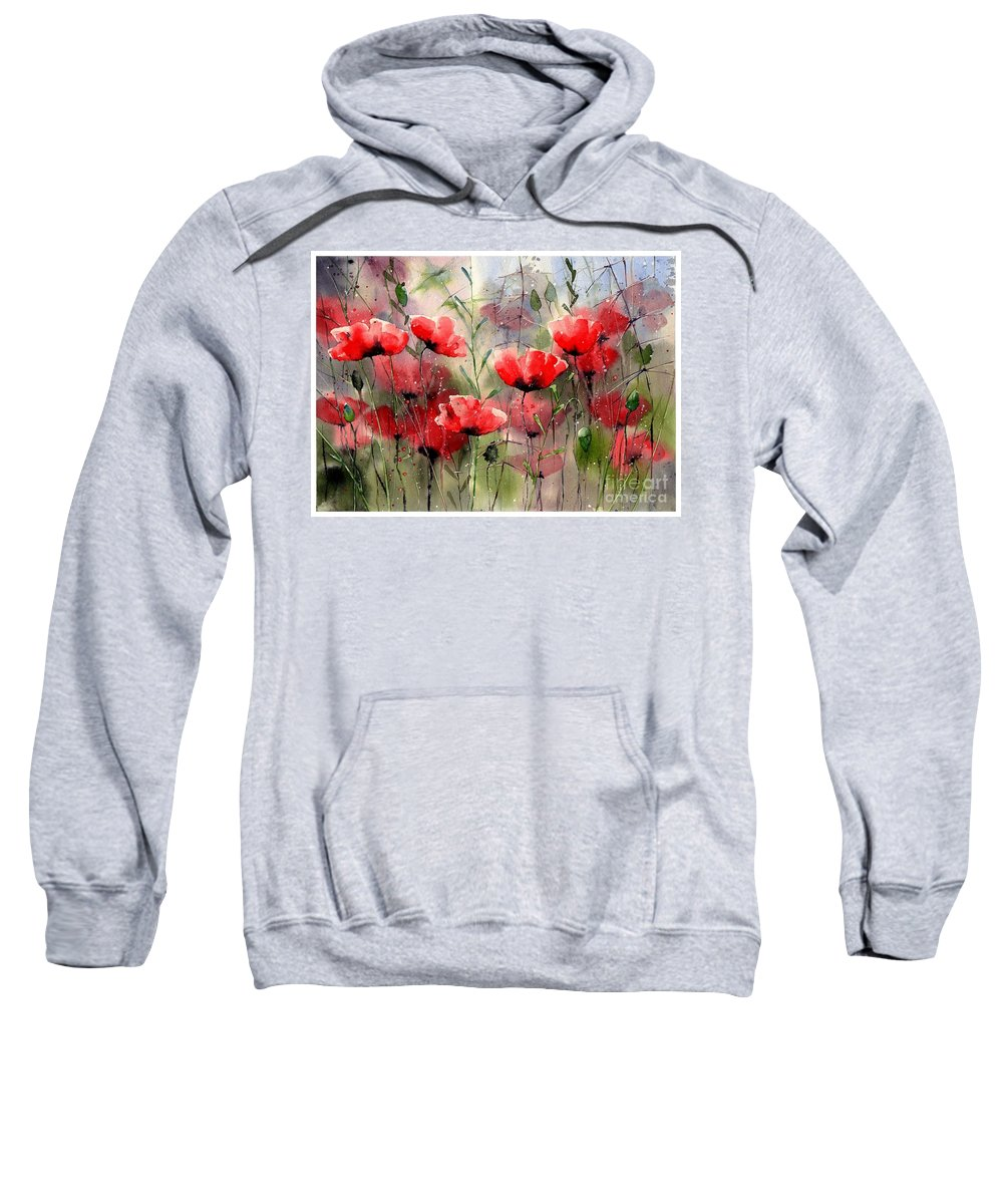 Red Sweatshirt featuring the painting Everything About Poppies by Suzann Sines