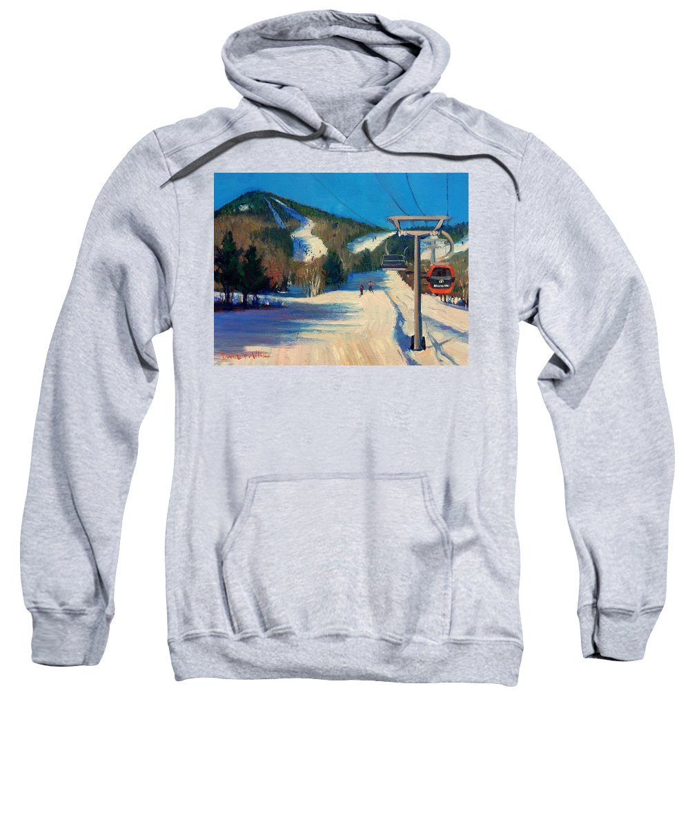 Sunday River Sweatshirt featuring the painting First Run by Dianne Panarelli Miller