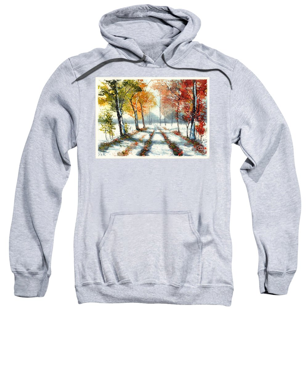 Countryside Sweatshirt featuring the painting First Snow by Suzann Sines