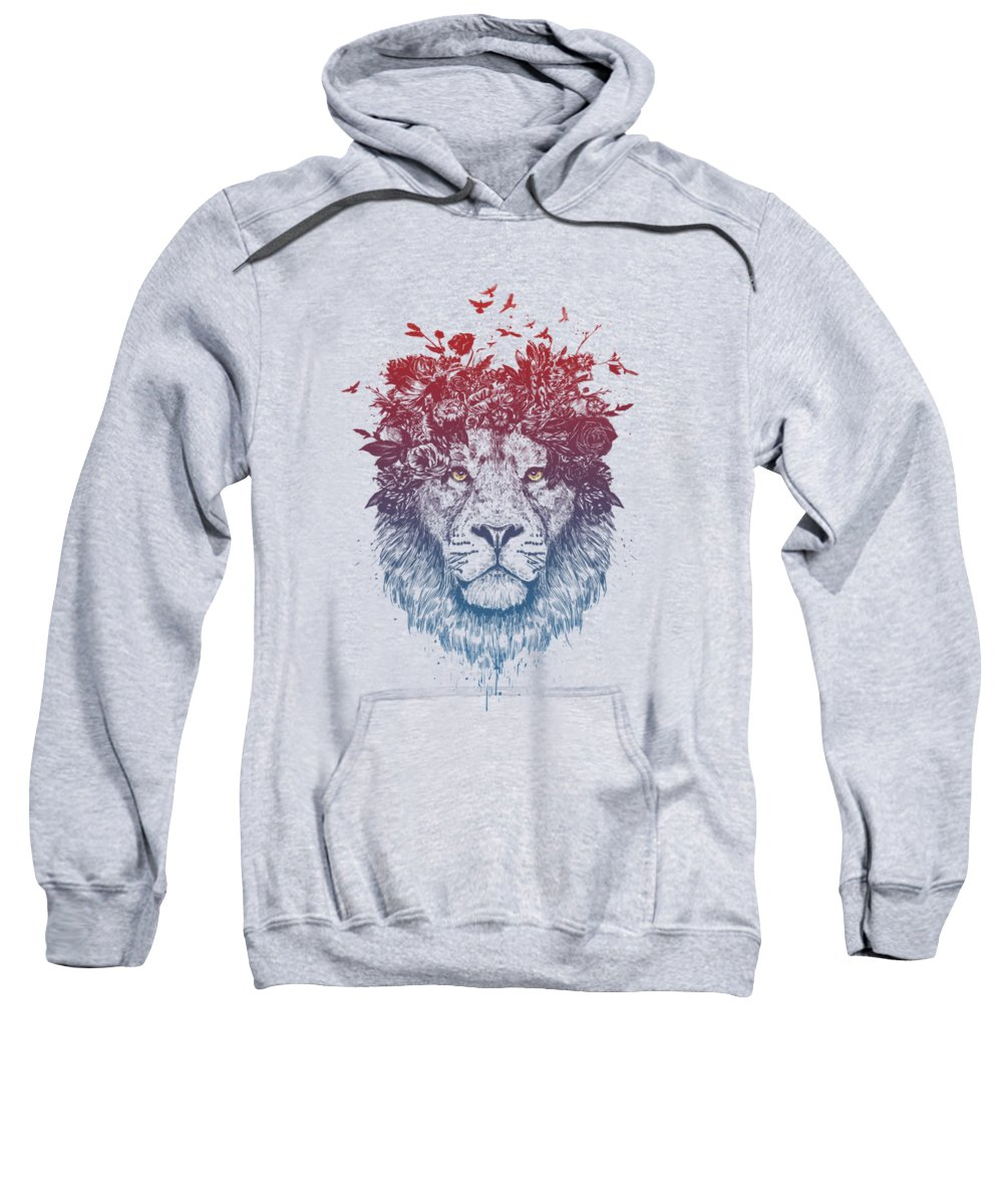 Lion Sweatshirt featuring the drawing Floral Lion IIi by Balazs Solti