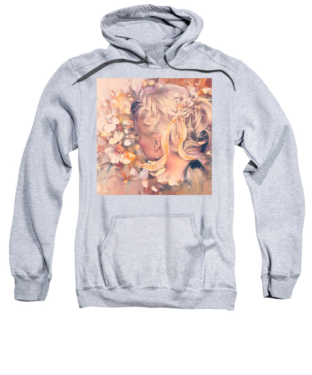 Pastels Sweatshirt featuring the mixed media Flutter Your Wings 02 by G Berry
