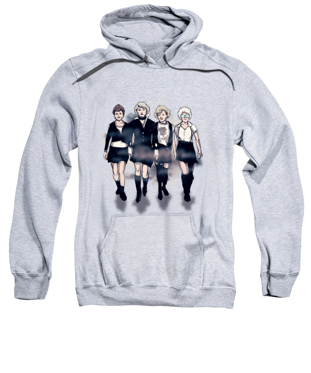The Craft Sweatshirt featuring the drawing Golden Craft Girls by Ludwig Van Bacon