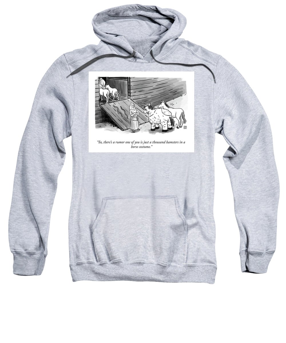 """""""so There's A Rumor One Of You Is Just A Thousand Hamsters In A Horse Costume."""" Noah Sweatshirt featuring the photograph Hamsters in a Horse Costume by Pia Guerra and Ian Boothby"""