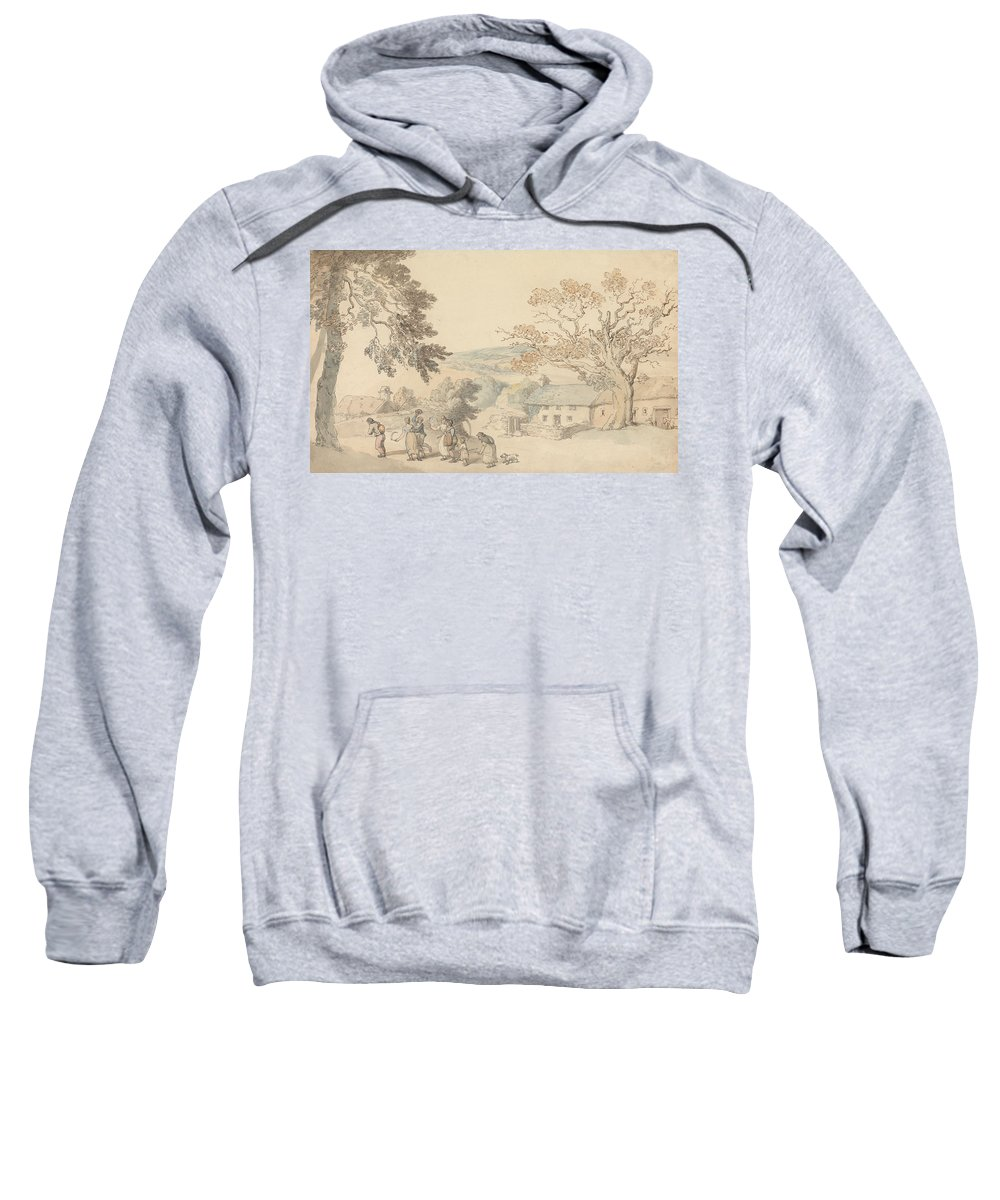 19th Century Art Sweatshirt featuring the drawing Harvesters Setting Out by Thomas Rowlandson