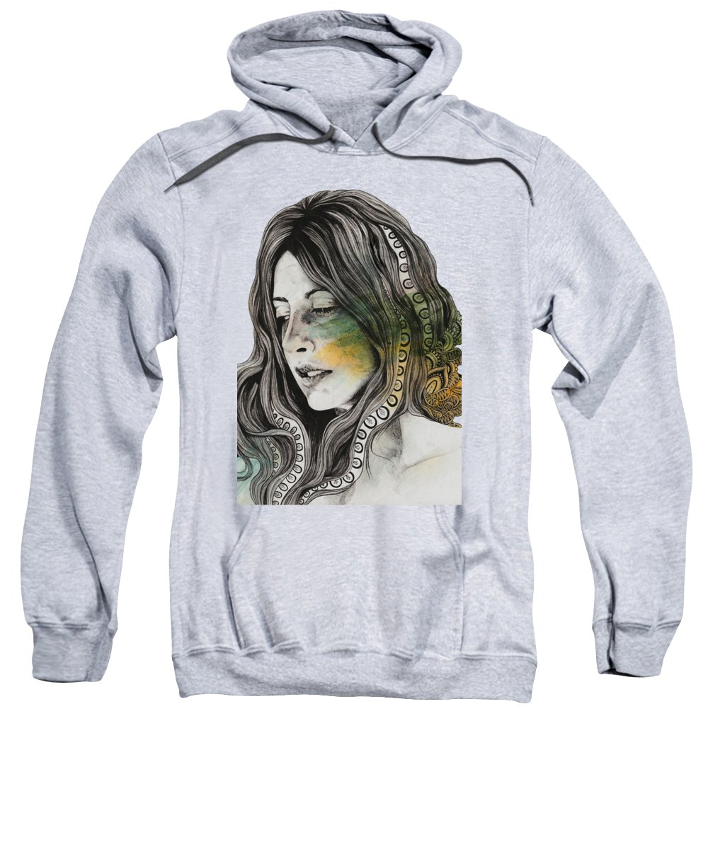 Zentangle Sweatshirt featuring the drawing Heavensent - Zentangle Female Portrait by Marco Paludet