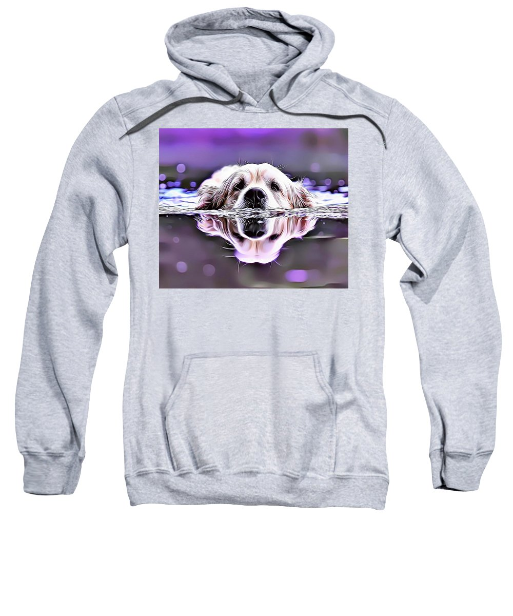 Labrador Sweatshirt featuring the digital art Labrador Swimming by Russ Carts