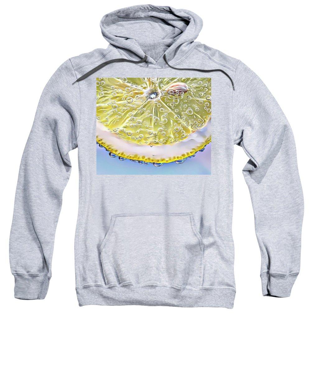Lemon Sweatshirt featuring the digital art Lemon Slice by Russ Carts