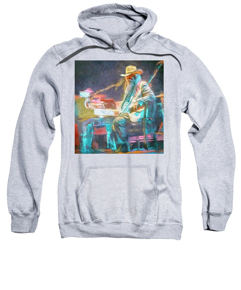 Leon Russell Sweatshirt featuring the mixed media Leon Russell by Mal Bray