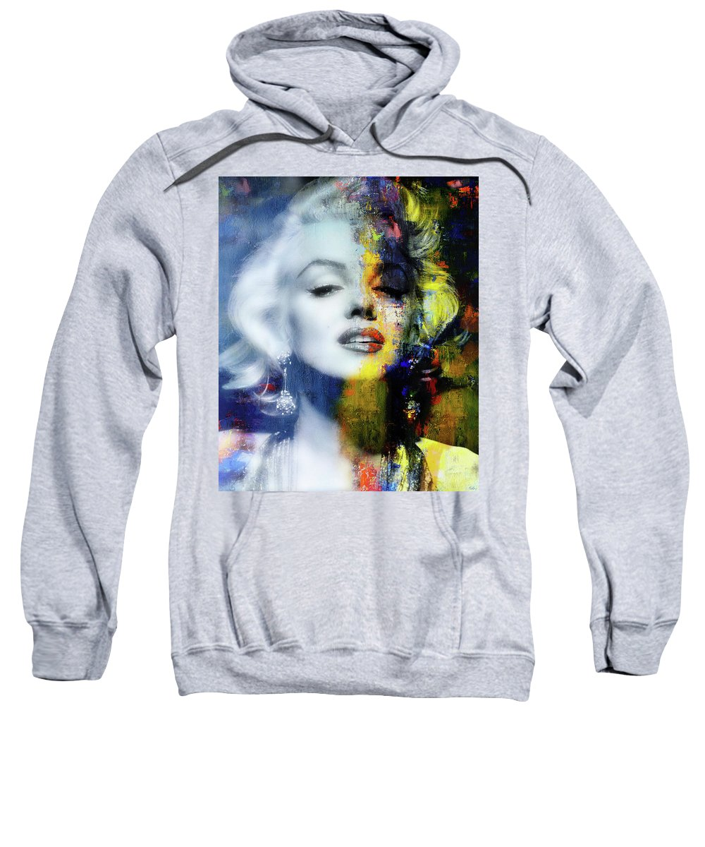 Marilyn Sweatshirt featuring the mixed media Marilyn Duality by Mal Bray