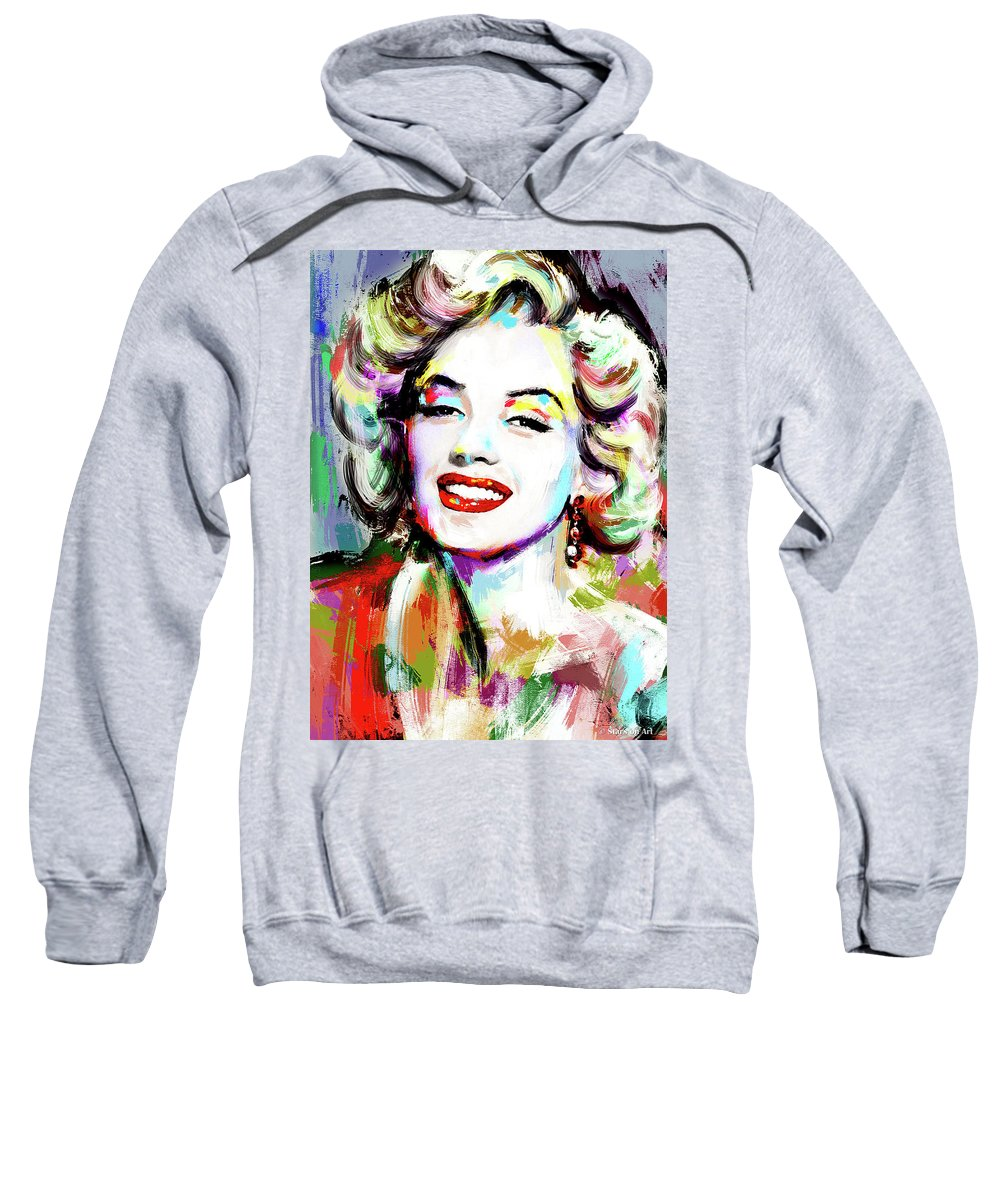 Marilyn Sweatshirt featuring the painting Marilyn Monroe drawing by Stars on Art