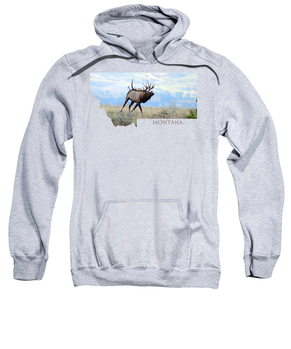 Wapiti Sweatshirt featuring the photograph Montana Bull Elk by Whispering Peaks Photography