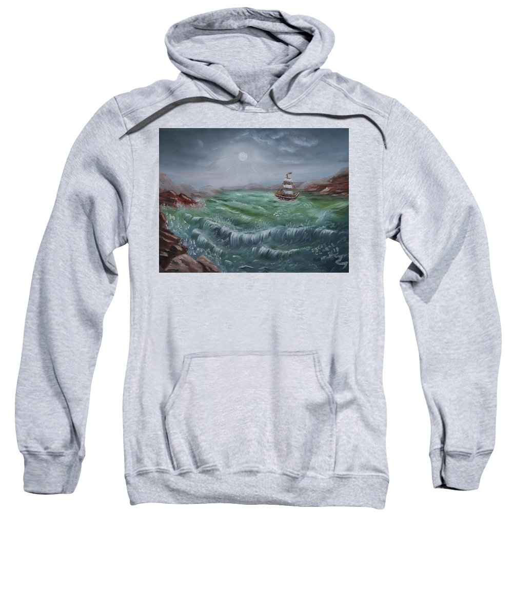 Seascape Sweatshirt featuring the painting Moonlight Sail by Irene Clarke