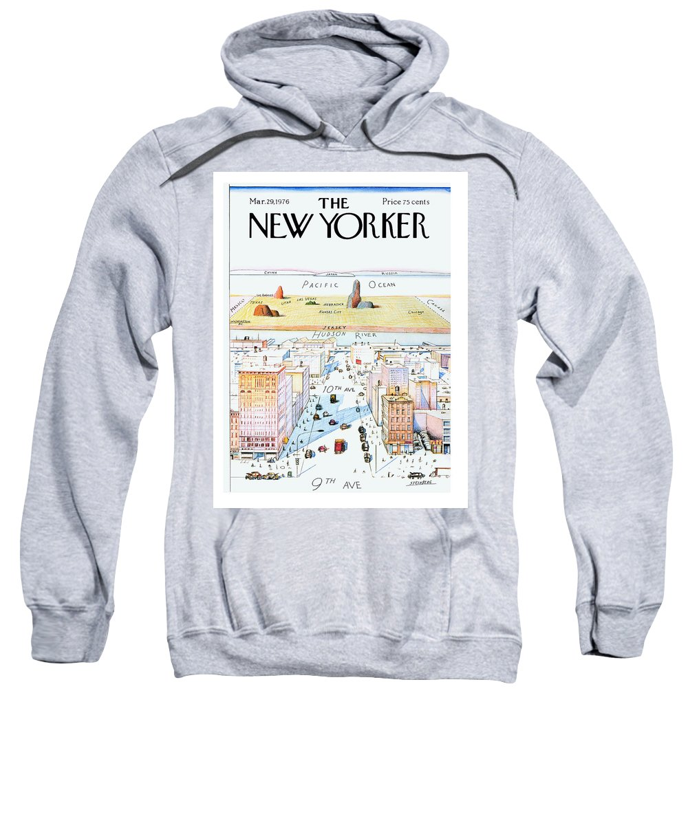 #condenastnewyorkercover Sweatshirt featuring the painting New Yorker March 29, 1976 by Saul Steinberg