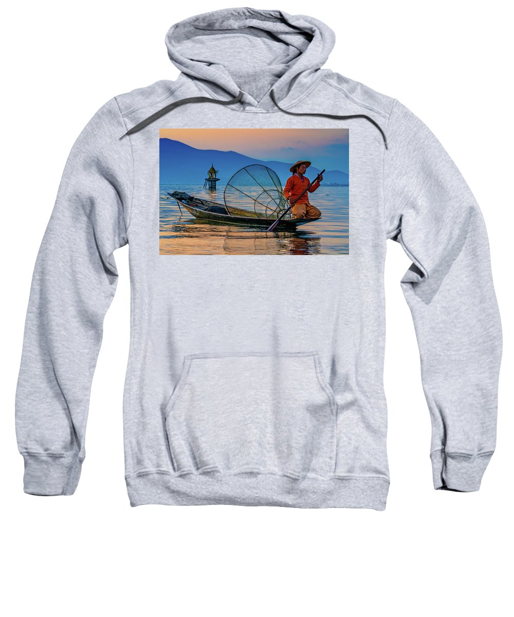 Inle Lake Sweatshirt featuring the photograph On Inle Lake by Chris Lord