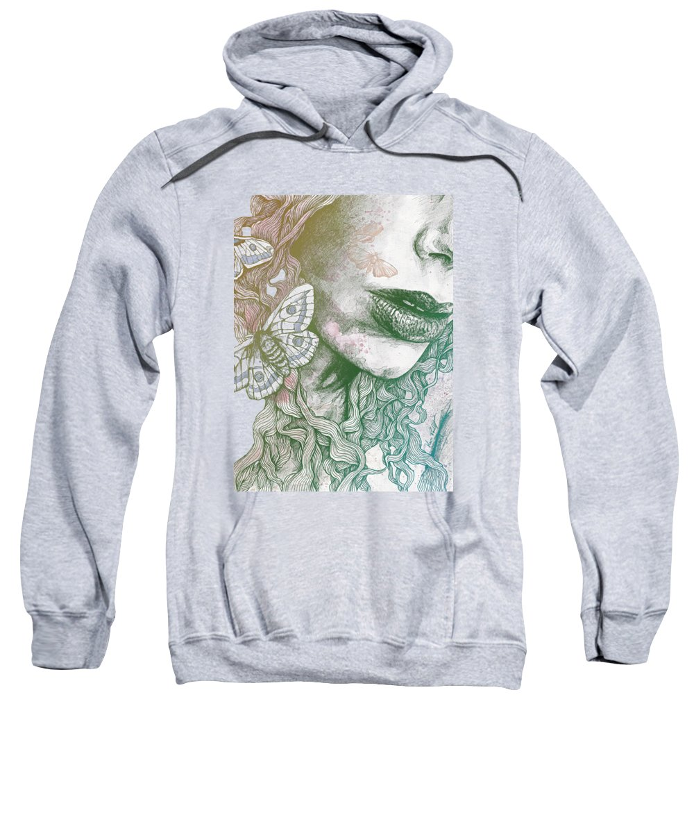 Moth Sweatshirt featuring the drawing Ornaments - Rainbow II by Marco Paludet