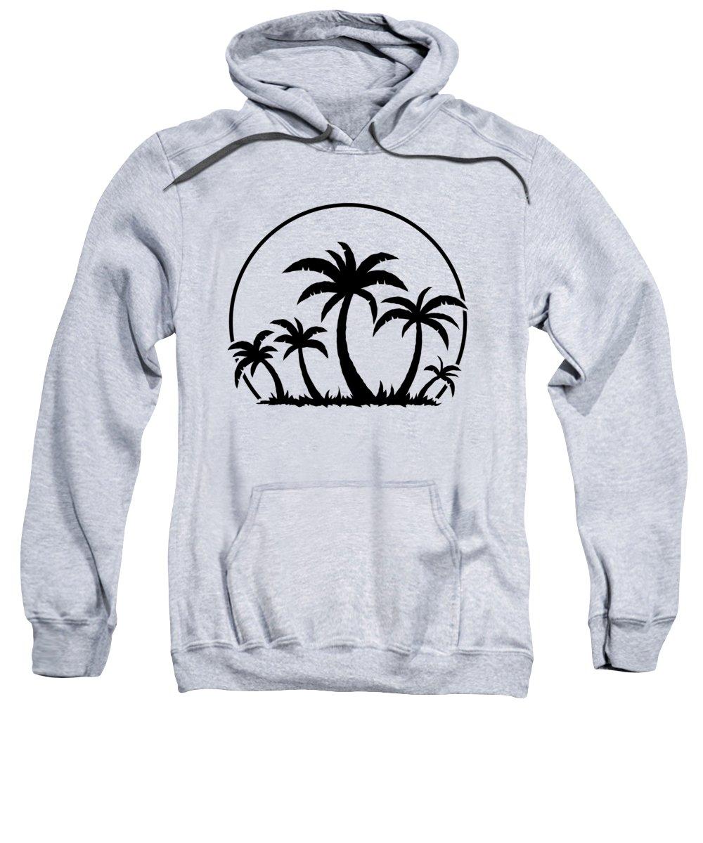 Beach Sweatshirt featuring the digital art Palm Trees And Sunset in Black by John Schwegel