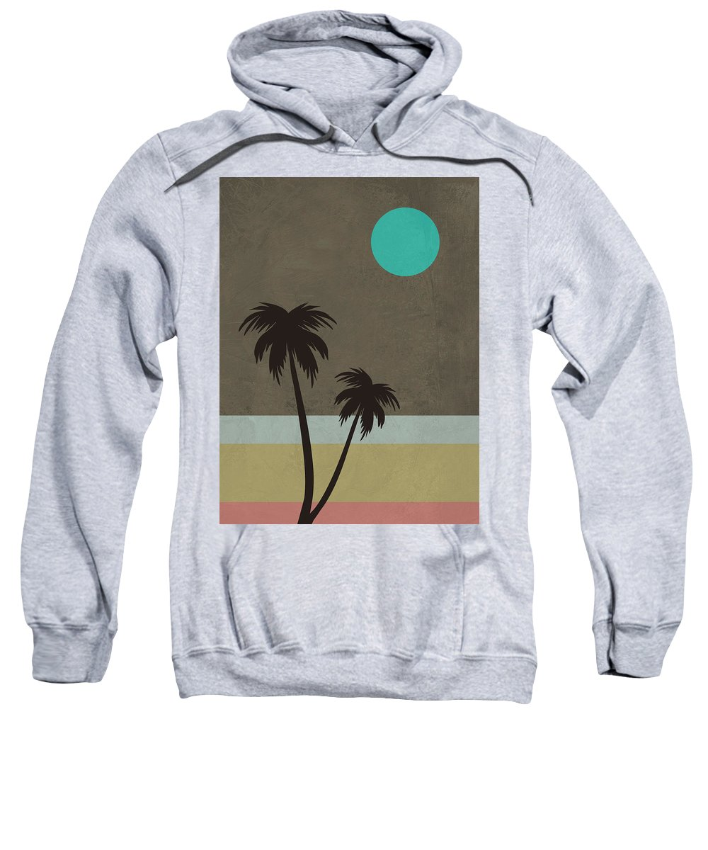 Palm Tree Sweatshirt featuring the mixed media Palm Trees And Teal Moon by Naxart Studio