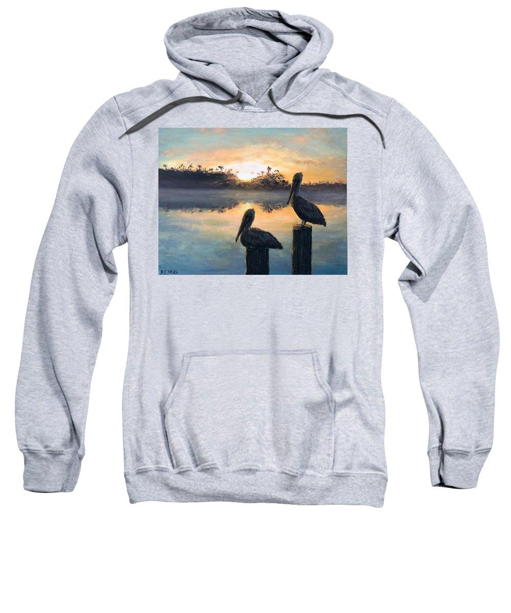 Pelican Sweatshirt featuring the painting Pelican Sunrise by Paul Emig