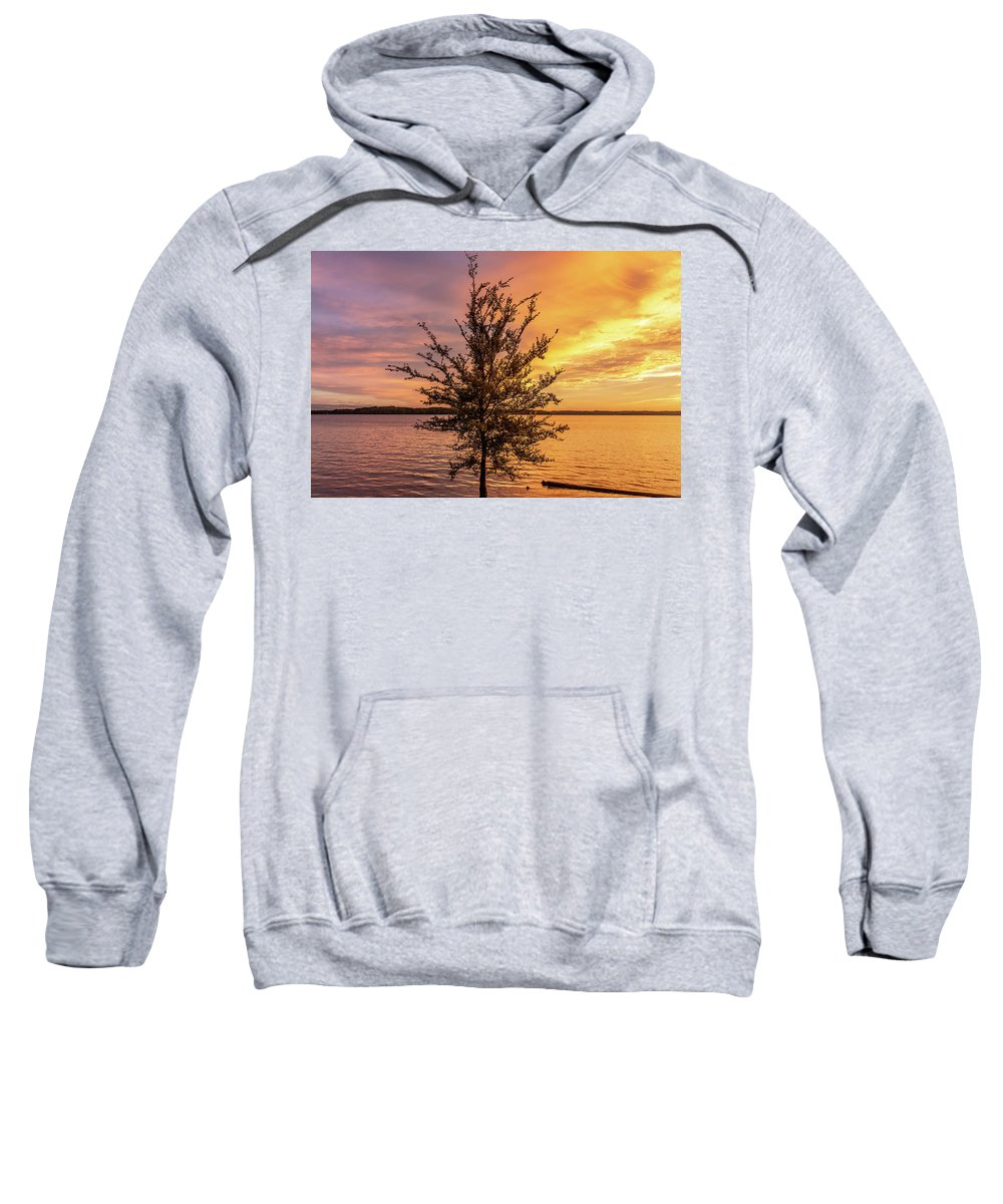Percy Priest Lake Sweatshirt featuring the photograph Percy Priest Lake Sunset Young Tree by D K Wall