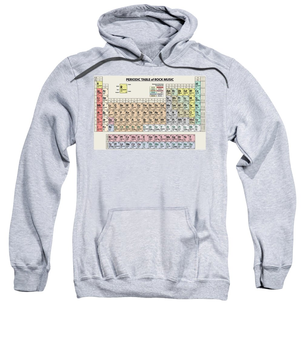 Rock Sweatshirt featuring the digital art Periodic Table of Rock Music by Zapista OU