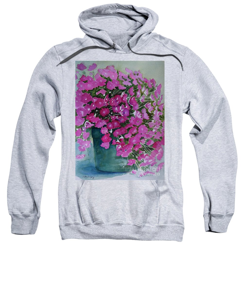 Mums Sweatshirt featuring the painting Pink Mums by Patty Strubinger