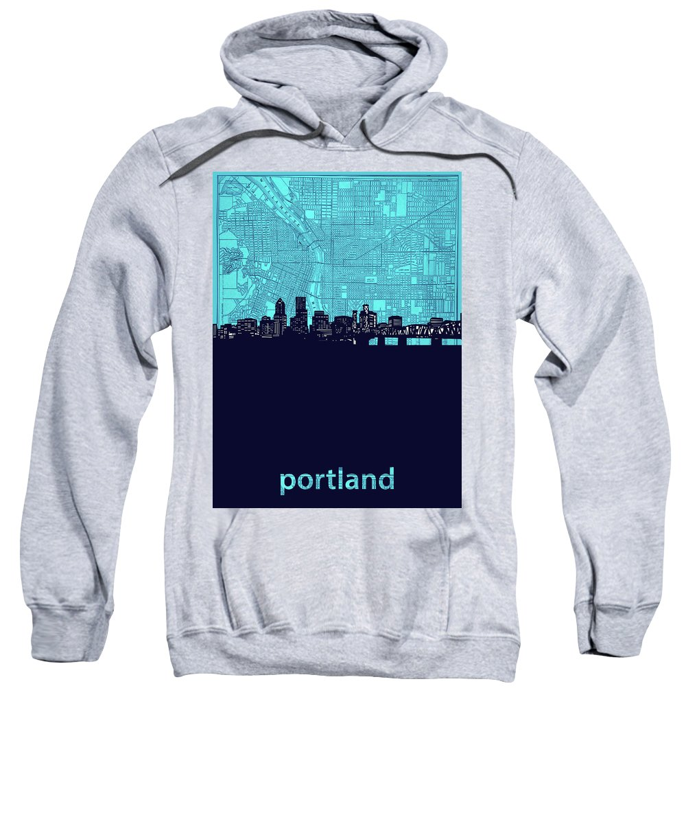 Portland Sweatshirt featuring the digital art Portland Skyline Map Turquoise by Bekim M