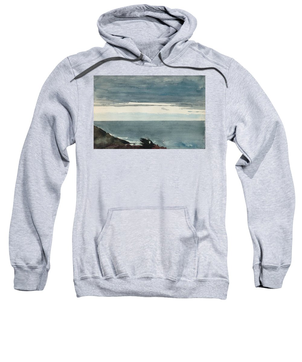 19th Century Art Sweatshirt featuring the drawing Prout's Neck, Evening by Winslow Homer