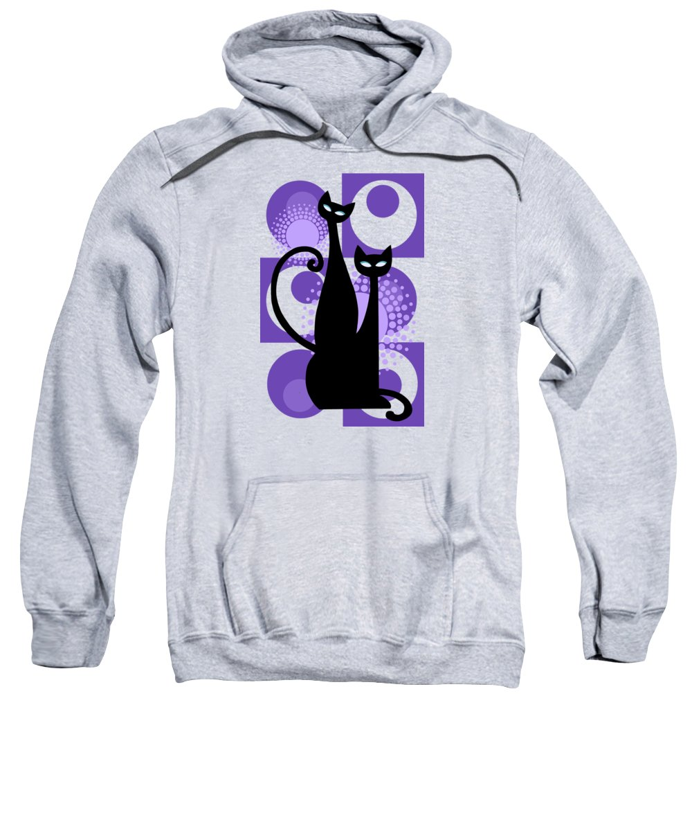 Painting Sweatshirt featuring the painting Purple Paradise Atomic Age Black Kitschy Cats by Little Bunny Sunshine