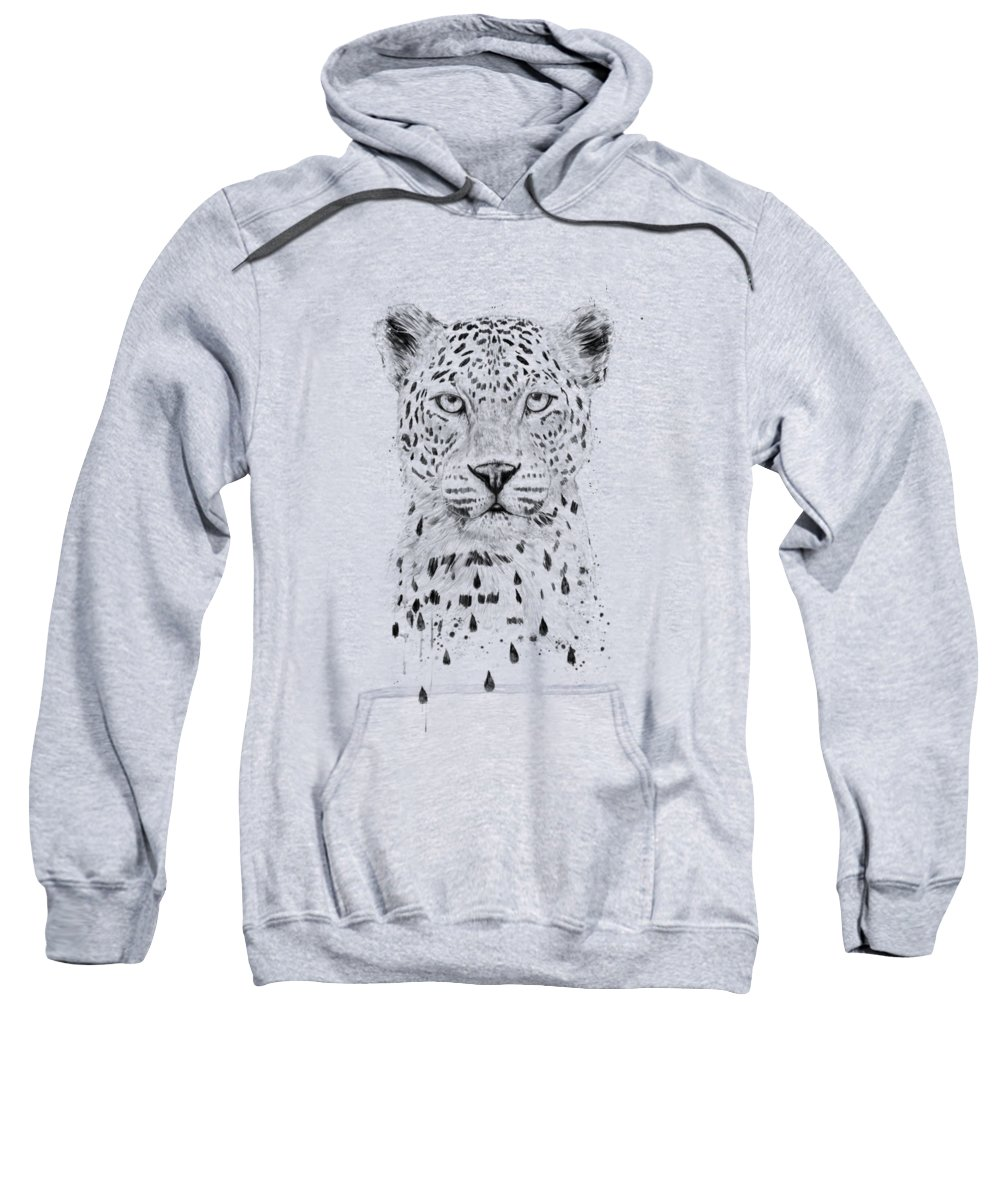 Leopard Sweatshirt featuring the drawing Raining again by Balazs Solti