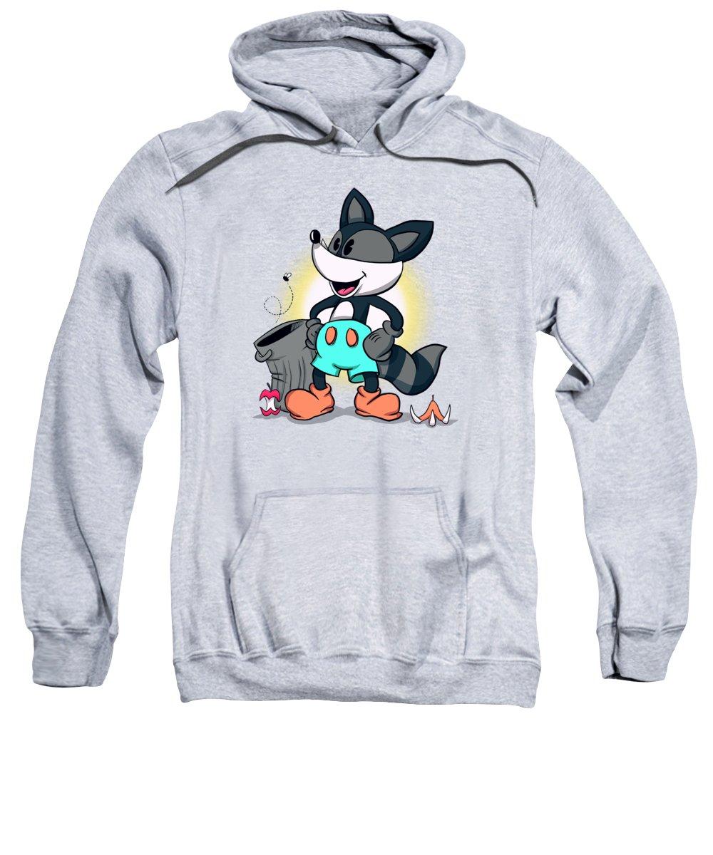 Raccoon Sweatshirt featuring the drawing Ricky Raccoon by Ludwig Van Bacon