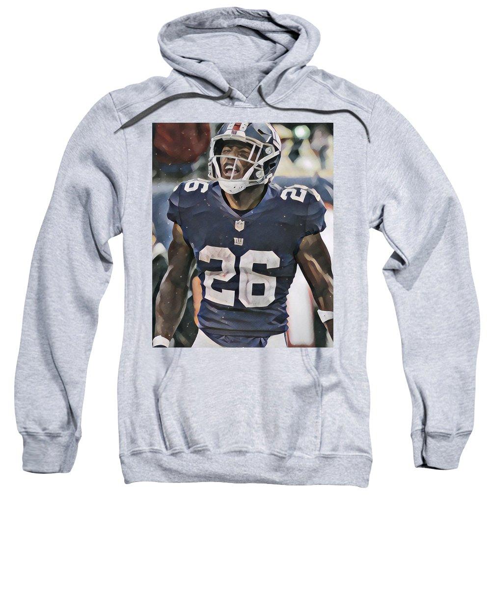 Saquon Barkley Sweatshirt featuring the mixed media Saquon Barkley New York Giants Abstract Art 6 by Joe Hamilton