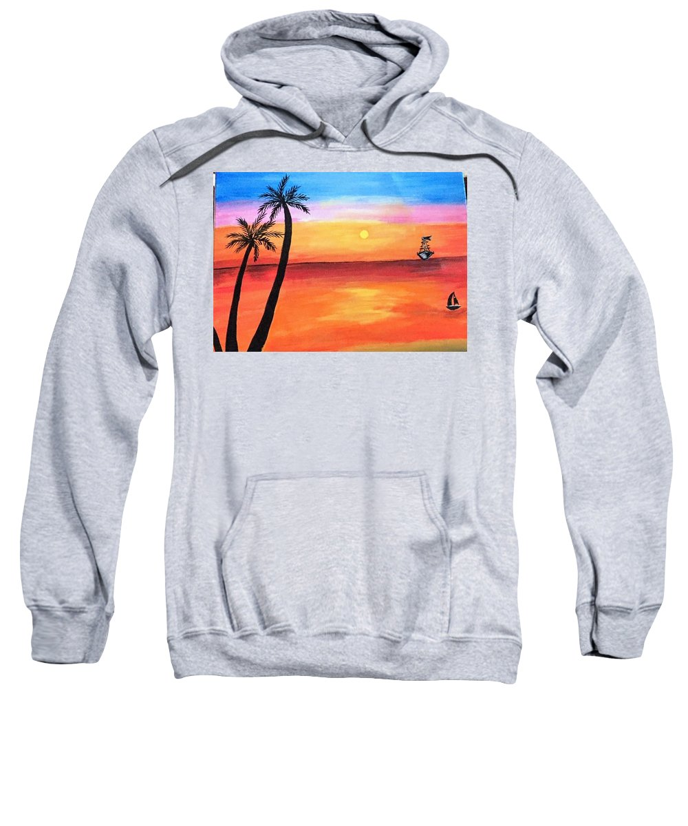 Canvas Sweatshirt featuring the painting Scenary by Aswini Moraikat Surendran