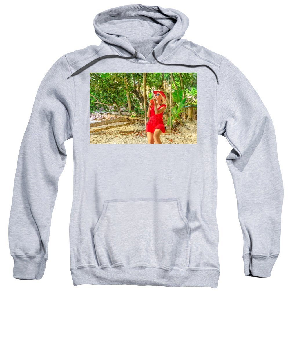 Swinging Sweatshirt featuring the photograph Seychelles Lifestyle Woman by Benny Marty