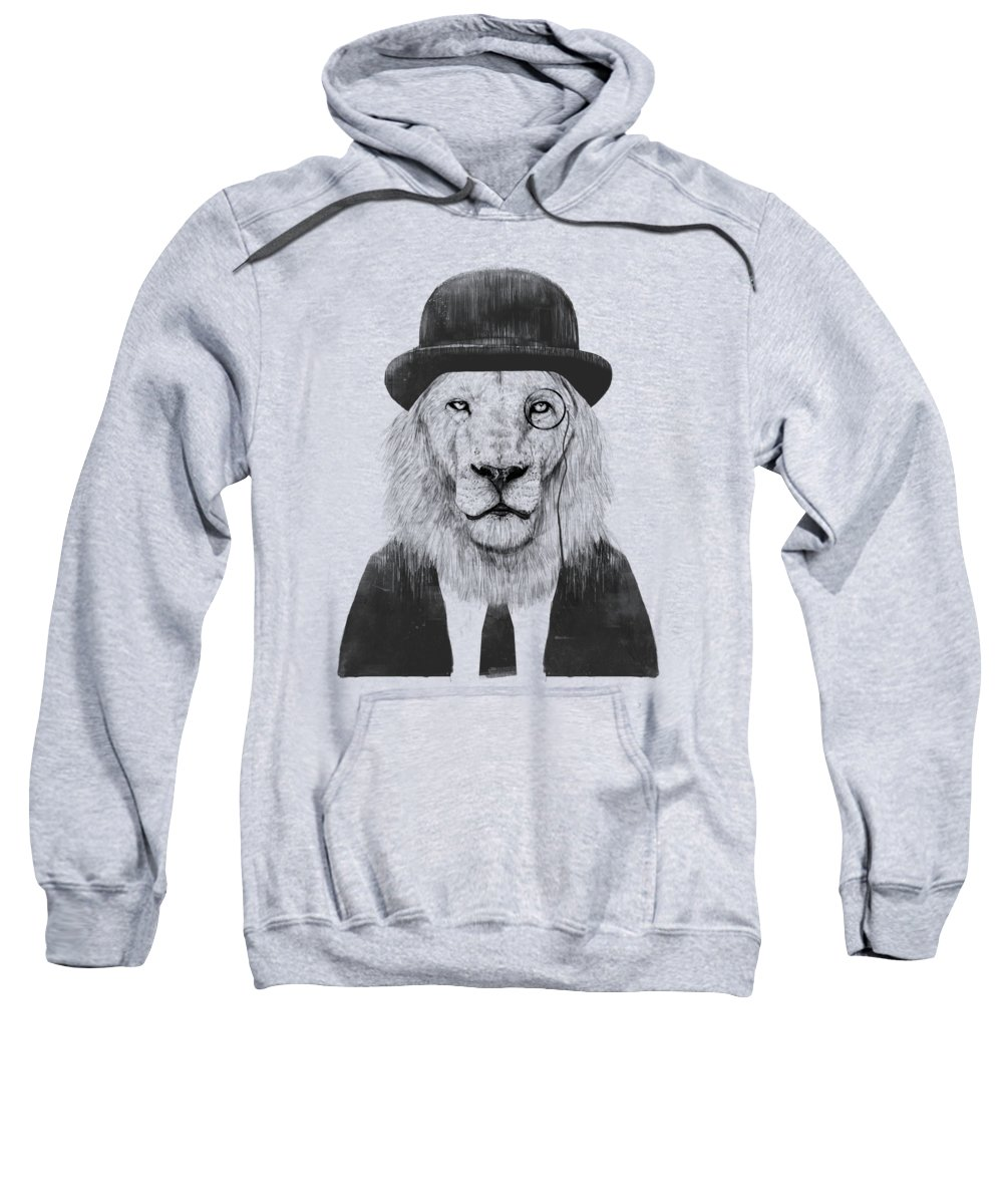 Lion Sweatshirt featuring the mixed media Sir lion by Balazs Solti