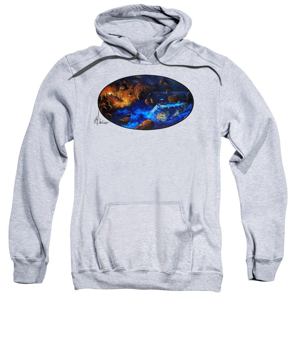 Painting Sweatshirt featuring the painting starship Titanic oval by Murphy Elliott