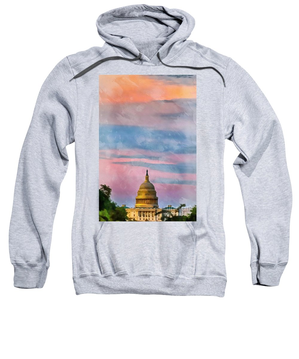 Washington Sweatshirt featuring the digital art Sunset Washington Dc The Capitol by Edward Fielding