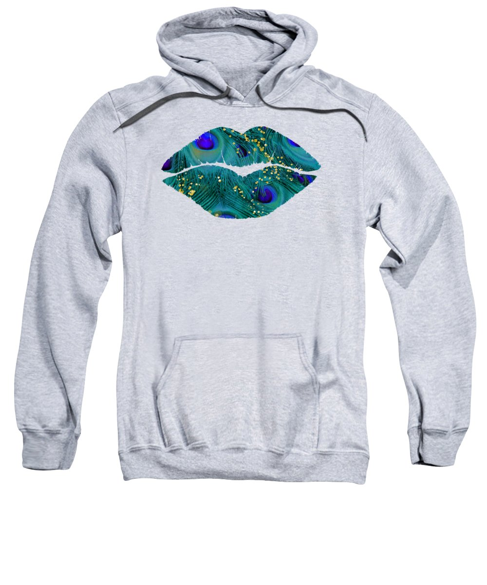 Teal Peacock Feathers Sweatshirt featuring the painting Teal Peacock Lips Kissing Mouth Fashion Art by Tina Lavoie