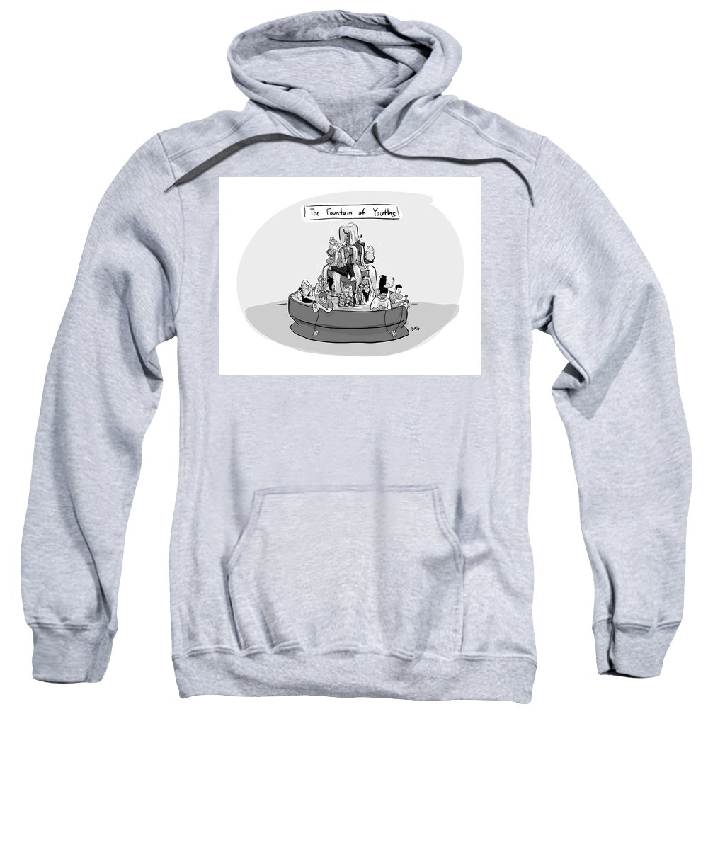 Captionless Sweatshirt featuring the drawing The Fountain of Youths by Brooke Bourgeois